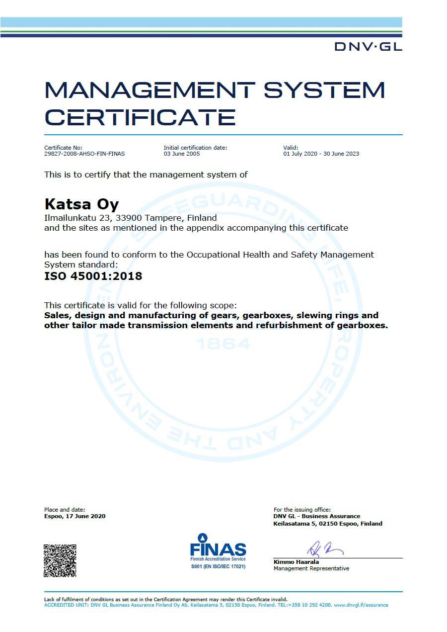 Katsa-ISO-45001 sertifikaatti